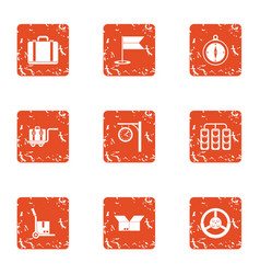 Loader of goods icons set grunge style vector