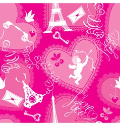 Love concept - seamless pattern with lace hearts vector image
