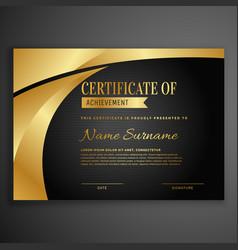 Luxury dark certificate design template vector