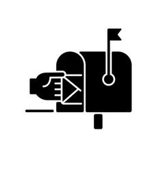 Mailbox black glyph icon vector