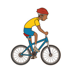 man riding bike icon vector image