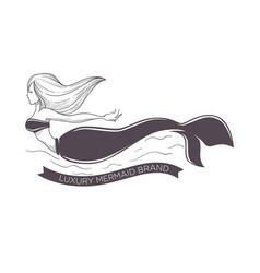 mermaid swimming in sea marine brand girl with vector image
