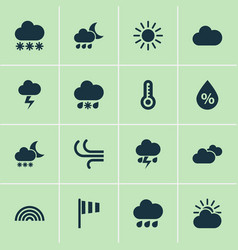 Meteorology icons set collection of sun colors vector