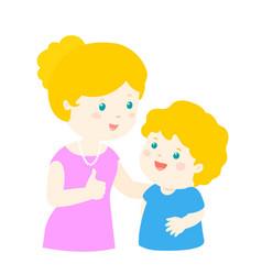 mother admire son character cartoon xa vector image