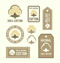 Natural cotton labels and design elements vector