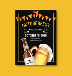 Oktoberfest poster with beer craft feast flag vector