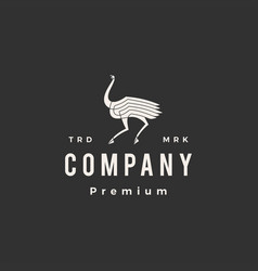 Ostrich hipster vintage logo icon vector