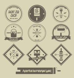 Paint job shop vintage label vector