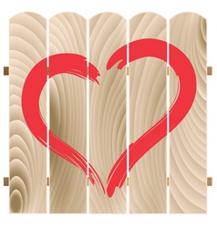 painted heart on wooden fence vector image vector image