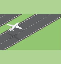 Passenger plane takeoff isometric vector