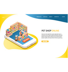 pet shop online landing page website vector image