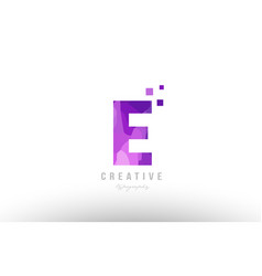 pink alphabet letter logo e with squares vector image