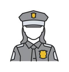 Policewoman color icon vector