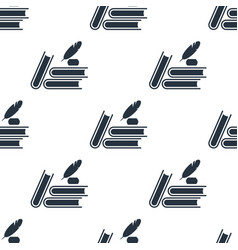 seamless feather with ink pattern education vector image