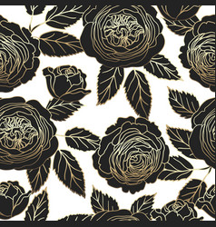 seamless pattern with graphic dark and golden rose vector image