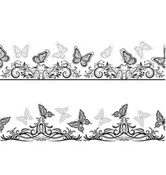 Seamless patterns with black butterflies vector