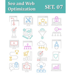 Seo and web optimization icons vector
