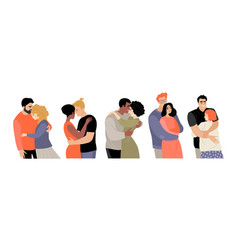 set cute hugging couples vector image