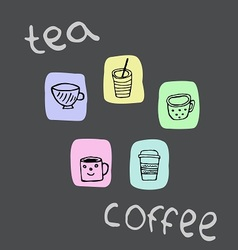 Set of colored icons with mugs of tea and coffee vector image vector image