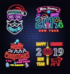 Set of merry christmas and 2019 happy new year vector