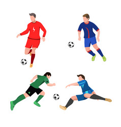 set soccer players in top form with ball vector image