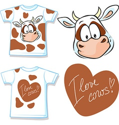 Shirt with cute brown and white cow - vector