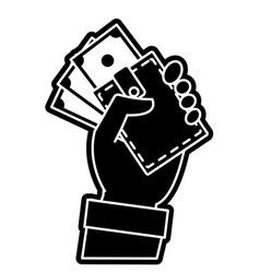 Silhouette hand with bill cash money and wallet vector