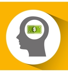 Silhouette head with money cash bill icon vector