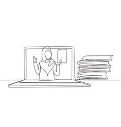 Single one line drawing arabian female teacher vector