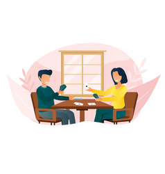 smiling couple sitting at table and playing card vector image