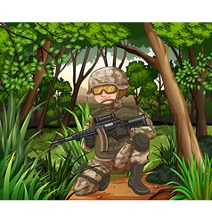 Soldier with gun in the jungle vector image