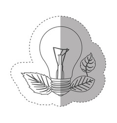 Sticker with grayscale contour with light bulb and vector