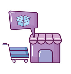 store building shopping cart and box vector image