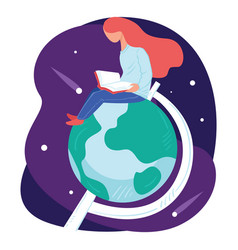 student learning geography and astronomy in vector image