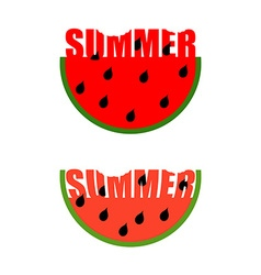 Summer logo piece of watermelon with word summer vector