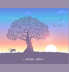 Sunset evening tree vector