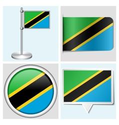 Tanzania flag - sticker button label flagstaff vector