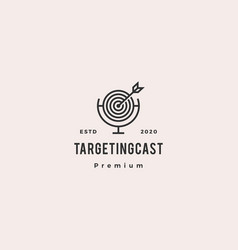 Targeting podcast logo hipster retro vintage icon vector