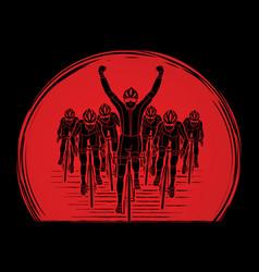 The winner with group of biking sport men team vector