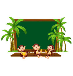 Three monkey on blackboard template vector
