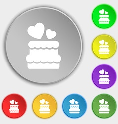 Wedding cake icon sign Symbol on eight flat vector