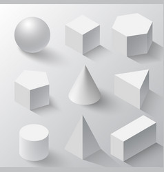 White cube cylinder sphere and cone vector