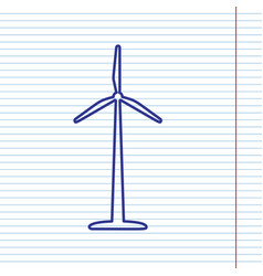 Wind turbine logo or sign navy line icon vector