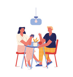 Young couple have breakfast in hotel or home vector