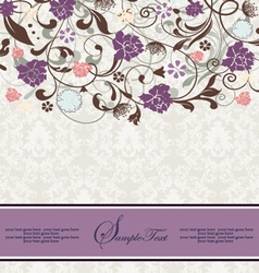 bridal shower invitation with purple flowers vector image vector image