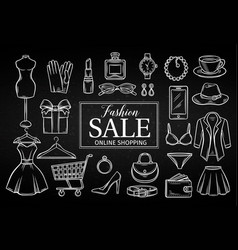 hand drawn fashion online shop icons set vector image