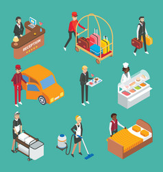 hotel service workers flat isometric icon vector image