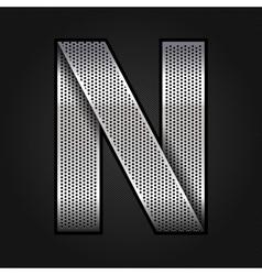 Letter metal chrome ribbon - N vector image vector image