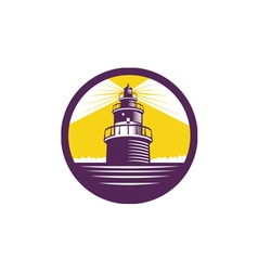 Lighthouse Circle Woodcut vector image vector image