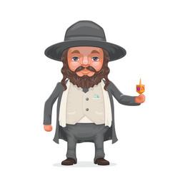 male rabbi payot beard traditional jewish costume vector image vector image
